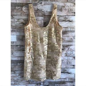 TOBI Gold Sequin Mini Dress Sz S